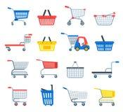 Client ou Carter de chariot à chariot à boutique de vecteur de caddie avec l'achat vide de panier et de sac dans l'illustration d illustration stock