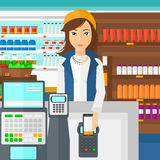 Client payant avec son smartphone utilisant le terminal illustration stock