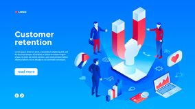 Client retention concept background, isometric style royalty free illustration