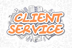 Client Service - Cartoon Orange Text. Business Concept. Royalty Free Stock Image