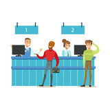 Client Service Counter With Bank Visitors And Workers. Bank Service, Account Management And Financial Affairs Themed. Vector Illustration. Smiling Cartoon Royalty Free Stock Photos