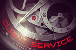 Client Service on Old Wristwatch Mechanism. 3D. Royalty Free Stock Photos