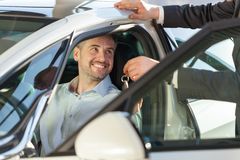 Client sitting in car Royalty Free Stock Images