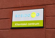 Client support center sign written in Czech language of the Residomo housing rental company stock photography