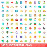 100 client support icons set, cartoon style. 100 client support icons set in cartoon style for any design illustration vector illustration