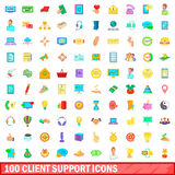100 client support icons set, cartoon style Royalty Free Stock Image
