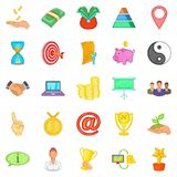 Client support icons set, cartoon style Royalty Free Stock Photography