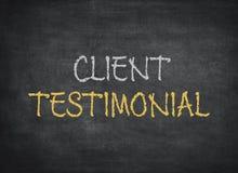 Client testimonial chalkboard. On chalkboard background stock photos