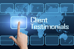 Client Testimonials. Concept with interface and world map on blue background Stock Photo