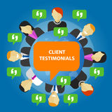 Client testimonials consumer feedback service opinion. Vector stock illustration