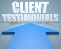 Client Testimonials. 3d render concept of blue arrow pointing to text Stock Images