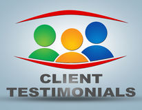 Client Testimonials. Illustration concept on grey background with group of people icons Royalty Free Stock Photos