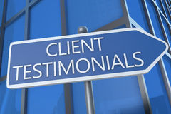 Client Testimonials. Illustration with street sign in front of office building Royalty Free Stock Image