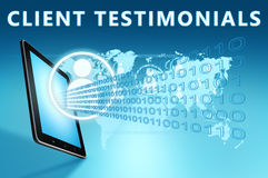Client Testimonials. Illustration with tablet computer on blue background Stock Photography