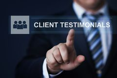 Client testimonials Opinion Feedback business technology internet concept.  Stock Photography