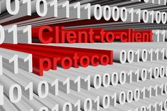 Client to client protocol. In the form of binary code, 3D illustration Royalty Free Stock Images