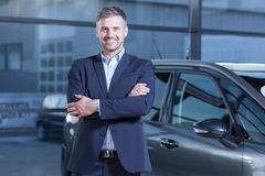 Client after transaction in dealership Royalty Free Stock Photos