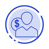 Client, User, Costs, Employee, Finance, Money, Person Blue Dotted Line Line Icon royalty free illustration