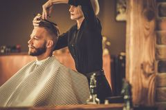 Client visiting hairstylist Royalty Free Stock Photo