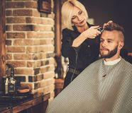 Client visiting hairstylist Royalty Free Stock Photography