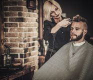 Client visiting hairstylist Stock Photos