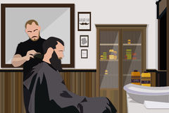 Client visiting hairstylist in barber shop. Vector illustration Stock Photos