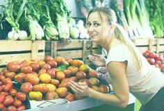 Cliente che sceglie i pomodori maturi freschi Fotografia Stock Libera da Diritti