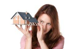 Cliente con la casa fotografia stock