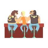 Cliente de la barra de Scarying de dos del motorista miembros de la cuadrilla, barra flaca de la cerveza y criminal mirando a los stock de ilustración