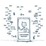 Cliente dell'operatore di applicazione dell'agente del robot del centro di sostegno del cliente mobile di intelligenza artificial illustrazione vettoriale