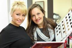 Cliente e parrucchiere con il catalogo dei colori dei capelli Fotografie Stock Libere da Diritti