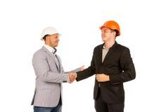 Cliente ed ingegnere felici Shaking Hands Immagini Stock