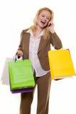 Cliente emozionante sul telefono immagine stock