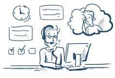Cliente en línea de la cubierta de la oficina del operador del cliente del hombre del agente de las auriculares del centro de ayu ilustración del vector