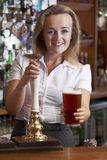 Cliente fêmea de Serving Drink To do barman Imagens de Stock