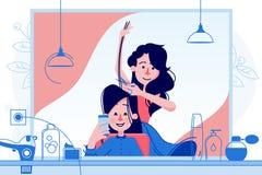 Cliente f?mea do corte do cabeleireiro ilustração royalty free