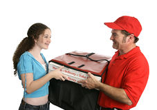 Cliente feliz da pizza fotos de stock