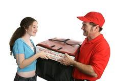 Cliente feliz de la pizza Fotos de archivo