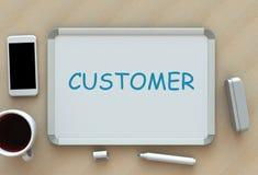 Cliente, mensagem no whiteboard, telefone esperto e café Imagem de Stock Royalty Free