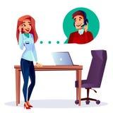 Cliente satisfeito desenhos animados do vetor que chama o apoio ilustração do vetor