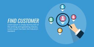 Clientes del hallazgo - audiencia que apunta, estudio de mercados para los nuevos clientes Bandera plana del vector del diseño libre illustration