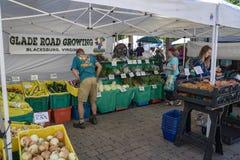 Clientes em um mercado dos fazendeiros imagens de stock royalty free