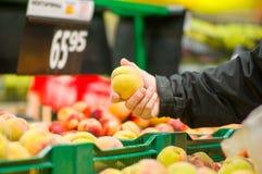 Clientes que seleccionan los melocotones en supermercado imagen de archivo libre de regalías