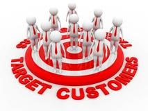 Clienti dell'obiettivo, obiettivo rosso rappresentazione 3d illustrazione di stock
