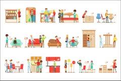 Clienti sorridenti nel negozio della mobilia, comperante per gli oggetti della decorazione della Camera con i venditori professio Illustrazione di Stock