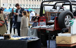 Clients chez Smorgasburg, Los Angeles Photos libres de droits