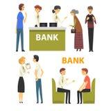 Clients consultant aux directeurs au bureau de banque, illustration de vecteur de service bancaire illustration de vecteur