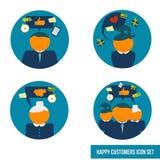 Clients heureux réglés d'icône de vecteur Images libres de droits