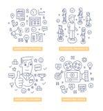 Clients lançant des concepts sur le marché de griffonnage Image stock