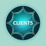 Clients magical glassy sunburst blue button sky blue background. Clients Isolated on magical glassy sunburst blue button sky blue background stock photography